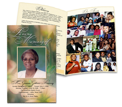 Center Fold Bifold Funeral Program Customization Service