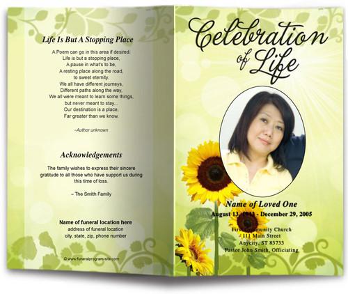 sunflower funeral program template