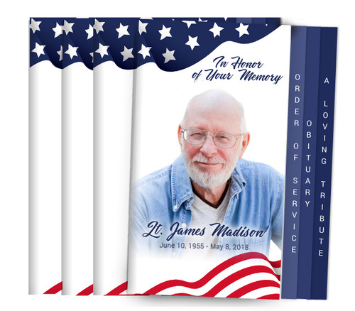 Spangled 8-Sided Graduated Funeral Program Design & Print (Pack 25)