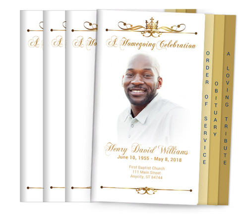 Royalty 8-Sided Graduated Funeral Program Design & Print (Pack 25)