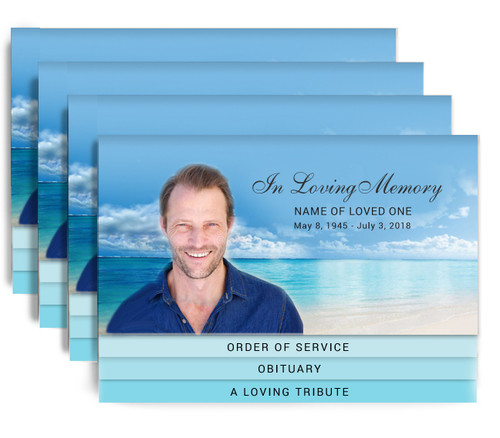 Waters 8-Sided Graduated Bottom Funeral Program Design & Print (Pack of 25)