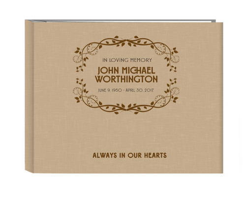 Always In Our Hearts Linen Cover Guest Book
