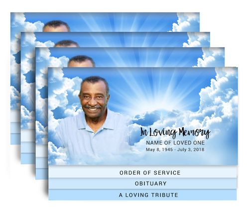 Skylight 8-Sided Graduated Bottom Funeral Program Design & Print (Pack of 25)
