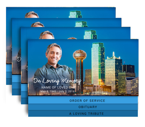 Dallas 8-Sided Graduated Bottom Funeral Program Design & Print (Pack of 25)