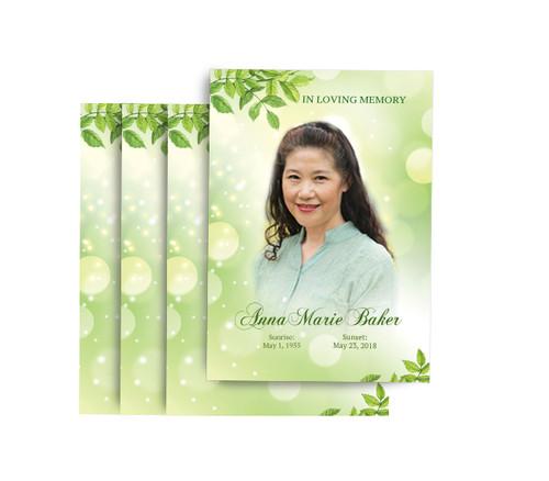 Twinkling Leaf No Fold Funeral Postcard Design & Print (Pack of 25)