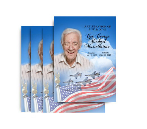 Air Force No Fold Funeral Postcard Design & Print (Pack of 25)