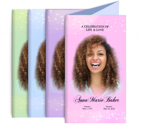 Light Sparkles Funeral Trifold Brochure Design & Print (Pack of 25)