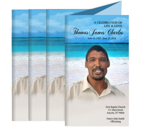 Caribbean Funeral Trifold Brochure Design & Print (Pack of 25)