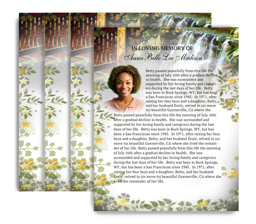 Serene No Fold Funeral Flyer Design & Print (Pack of 25)