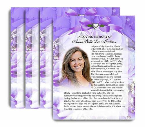 Amethyst No Fold Funeral Flyer Design & Print