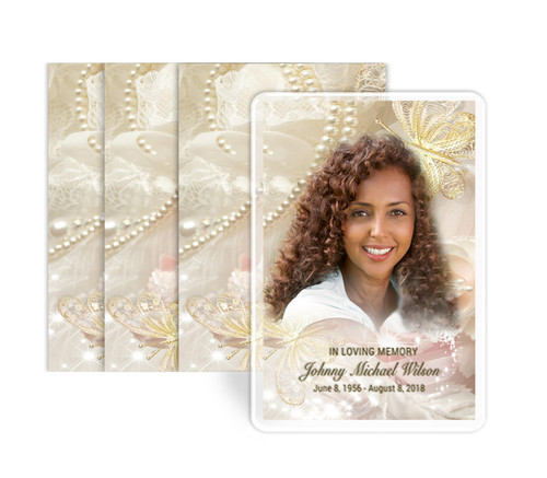 Pearls Lace Funeral Prayer Card  Design & Print (Pack of 25)