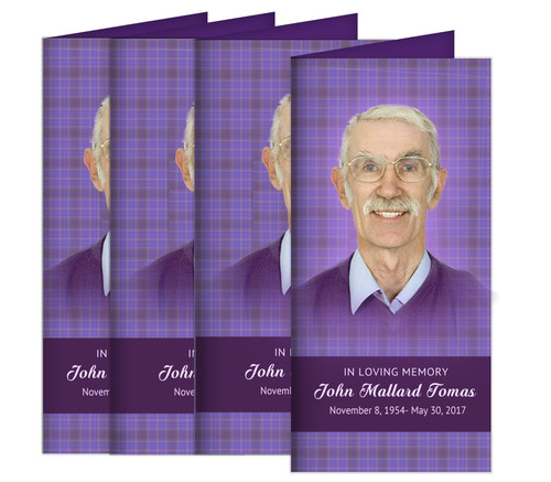 Plaid Long Fold Funeral Program Design & Print (Pack of 25)