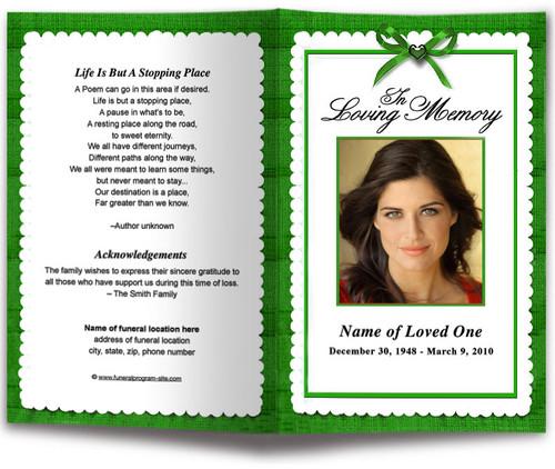 green Crimson Funeral Program Template