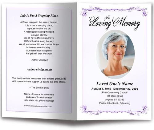 lavender Delicate Funeral Program Template