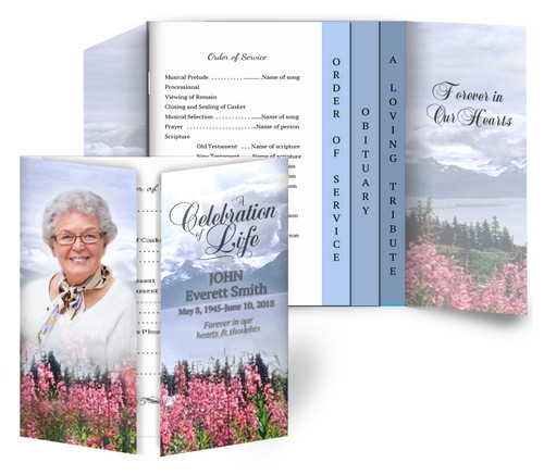 Seasons Gatefold/Graduated Combo Funeral Program Design & Print (Pack of 25)