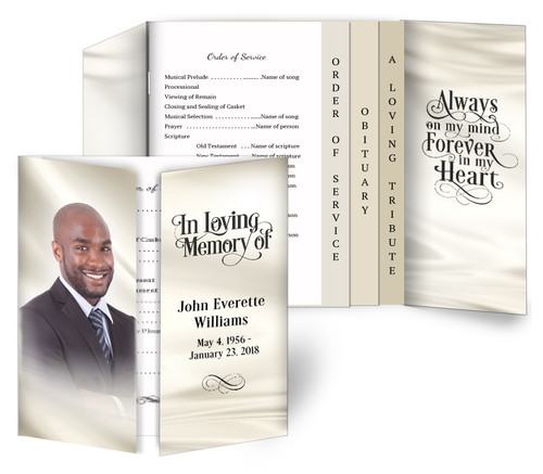 Satin Gatefold/Graduated Combo Funeral Program Design & Print (Pack of 25)