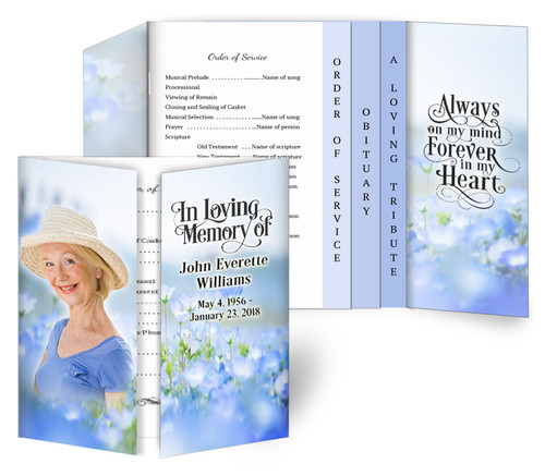Lavender Gatefold/Graduated Combo Funeral Program Design & Print (Pack of 25)
