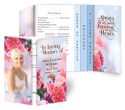 Blooming Gatefold/Graduated Combo Funeral Program Design & Print (Pack of 25)