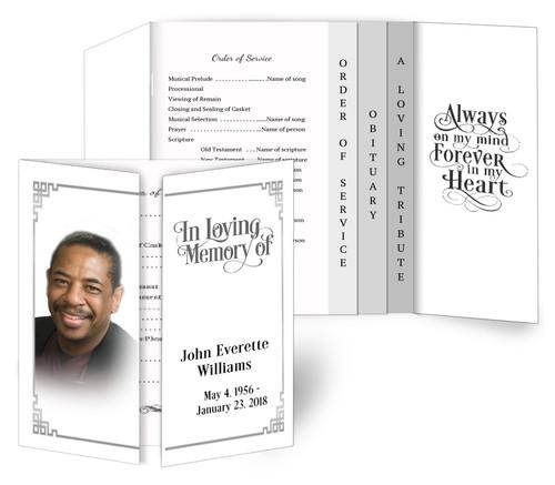 Silver Frame Gatefold/Graduated Combo Funeral Program Design & Print (Pack of 25)