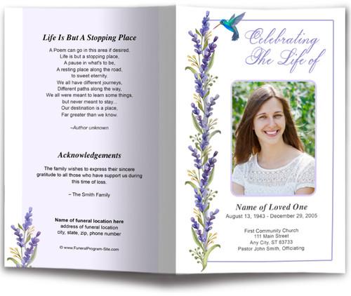 Hummingbird Funeral Program Template