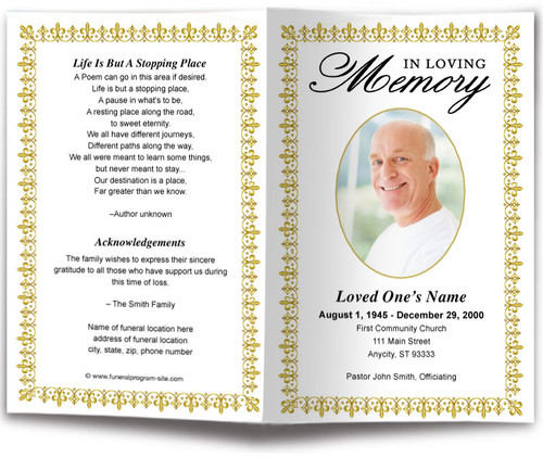 gold Lexington Funeral Program Template