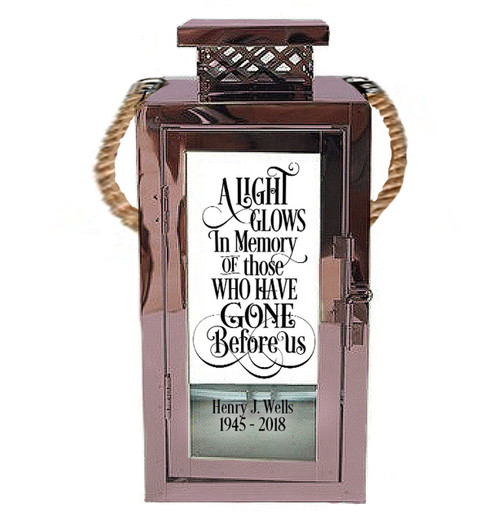 A Light Glows Personalized Memorial Silver Metal Lantern With Rope Handle