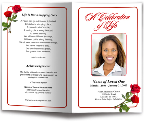 Red Roses Funeral Program Template