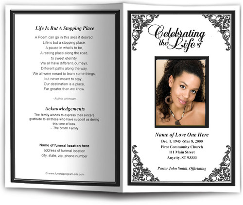 black Tribute Funeral Program Template