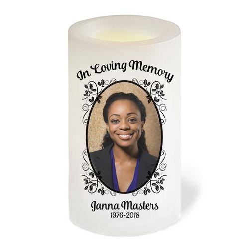 Flourish Leaves Flameless LED Memorial Candle