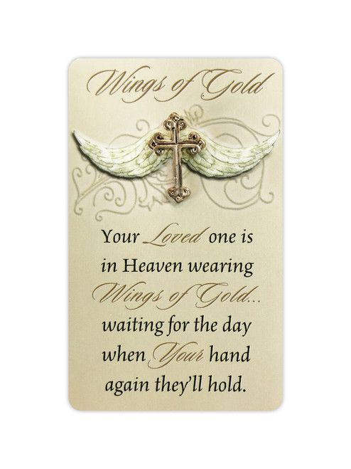 Wings of Gold Lapel Memorial Pin with Memorial Poem Card