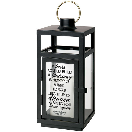 If Tears Could Build A Stairway Black Lantern With LED Candle