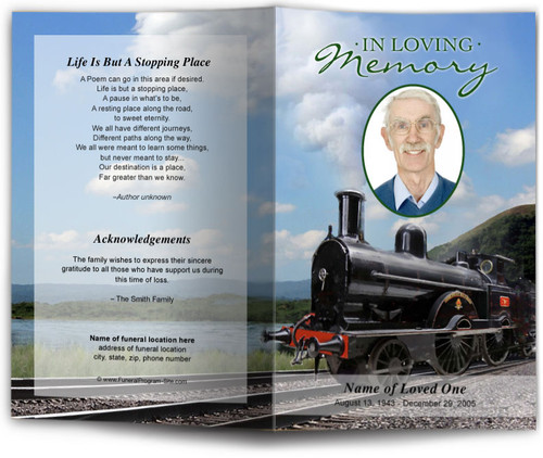 Front of Train funeral program template design