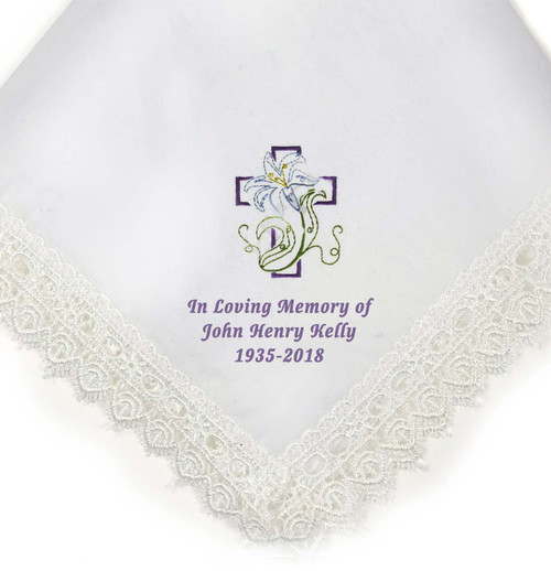 cross lily personalized handkerchief closeup