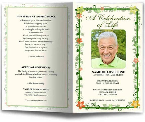 Vines Funeral Program Template