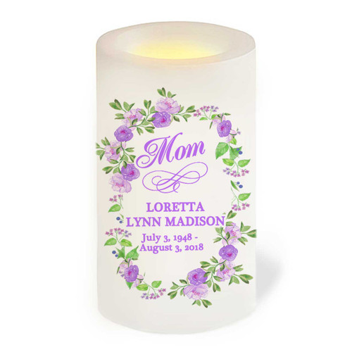Lavender Flameless LED Memorial Candle front view