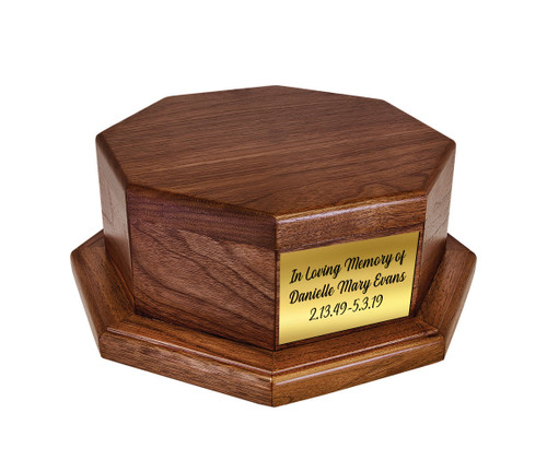 Octagon Wood Urn Stand Base with gold plate
