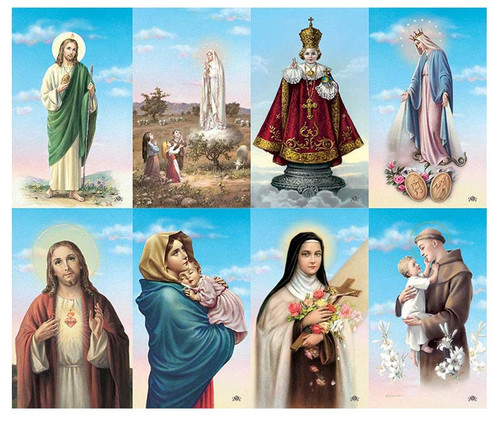Catholic Mass Assorted Blue Skies Halo Prayer Card Paper