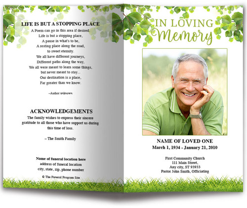 Nature Funeral Program Template