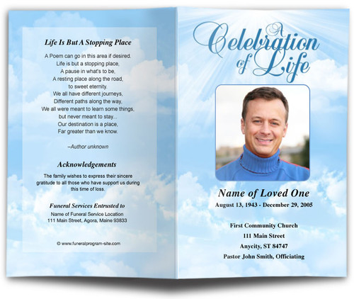 Skyblue Funeral Program Template