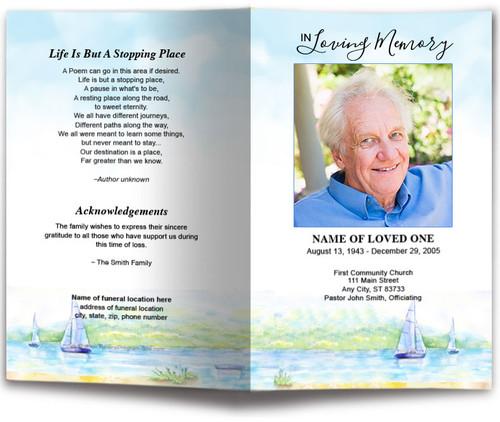 Sailing Watercolor Funeral Program Template