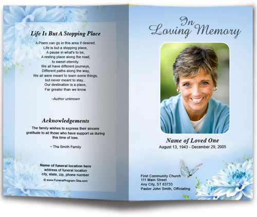 Blue Florals Funeral Program Template