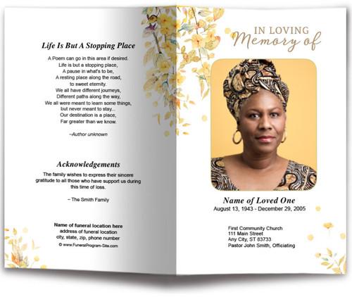 Linen Funeral Program Template front