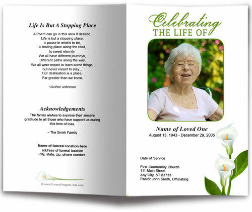 Calle Lilly Funeral Program Template front view