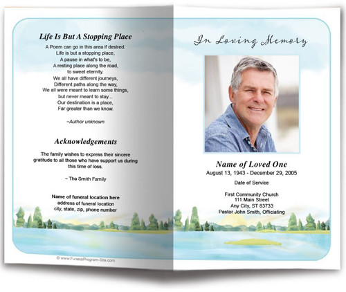 Dream Watercolor Funeral Program Template front back view