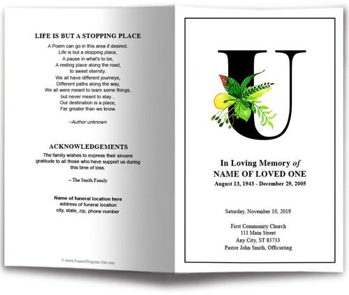 Monogram U Leaves Funeral Program Template