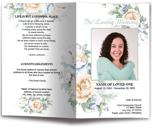 White Blossoms Watercolor Funeral Program Template front