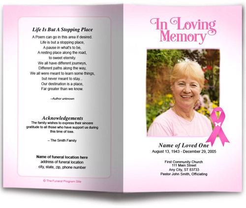 Breast Cancer Pink Ribbon Funeral Program Template