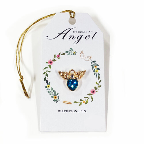 Angel Wings Birthstone Memorial Lapel Pin
