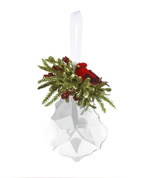 Mistletoe Cardinal Acrylic Sparkling Ornament