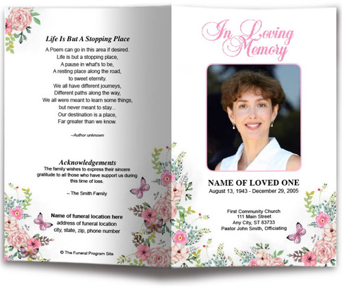 Charisma Watercolor Funeral Program Template